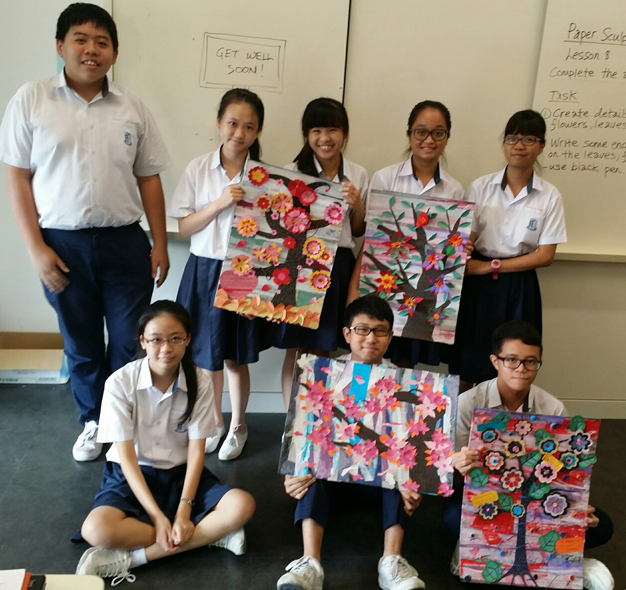 Art Club Members with Art Pieces 02